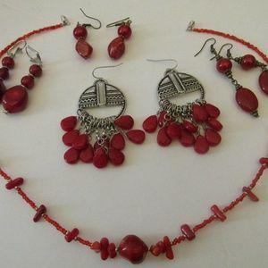 Red Jewelry Lot Pierced Earrings & Necklace